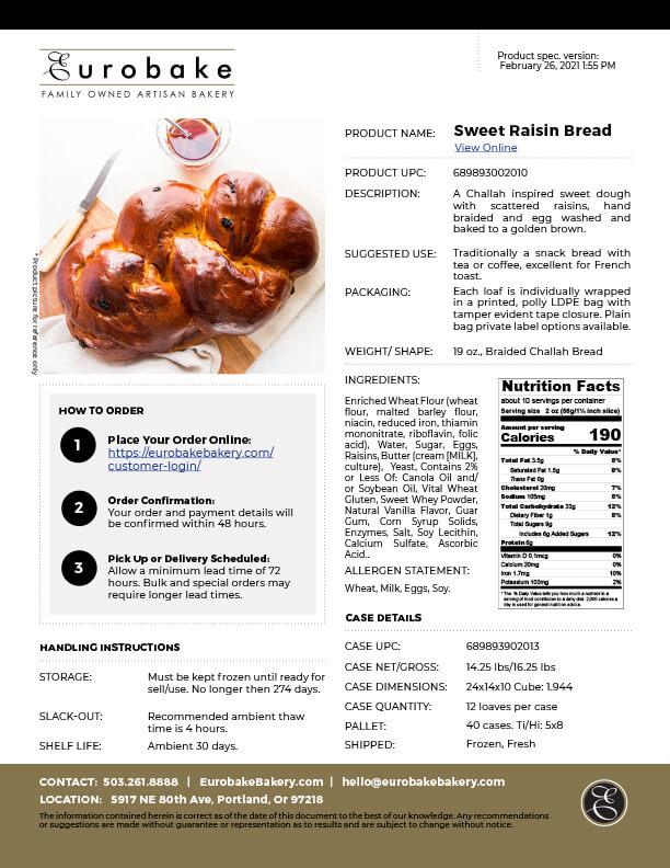 Eurobake Bakery Spec Sheet